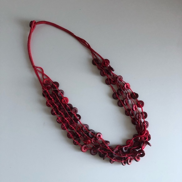 Woven / Wood Bead mixed material necklace